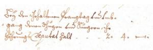 Zöhrungsdeputat aus dem Jahre 1714